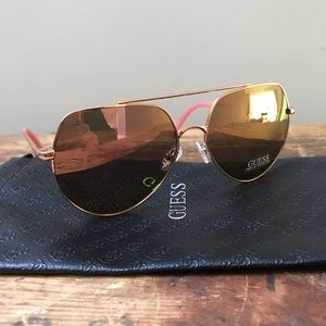 Guess Sunglasses Women's New Rose Gold Tone Frames
